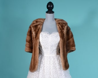 Vintage 1950s Mink Fur Stole - B. Rawitch Autumn Haze - Winter Bridal Fashions