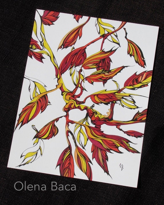 """Autumn Leaves ORIGINAL Illustration Abstract Drawing Orange Red Yellow Painting 11""""x14"""""""