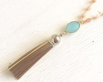 Long Gold Tassel Necklace with Mint Aqua Jewels and Orange Stones.  Long Gold Mint Tassel Necklace. Boho Necklace. Jewerly. Gift.