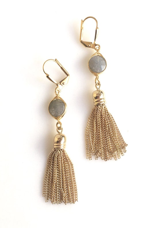 Labradorite and Gold Tassel Earrings.  Drop. Dangle. Gold Tassel Earrings. Grey Jewelry. Jewelry Gift.  Dangle Earrings. Modern Earrings.