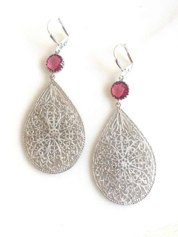 Silver Teardrop Dangle Earrings with Ruby Jewels. Chandelier Earrings. Large Silver Dangle Earrings.  Statement Jewelry.  Gift for Her.