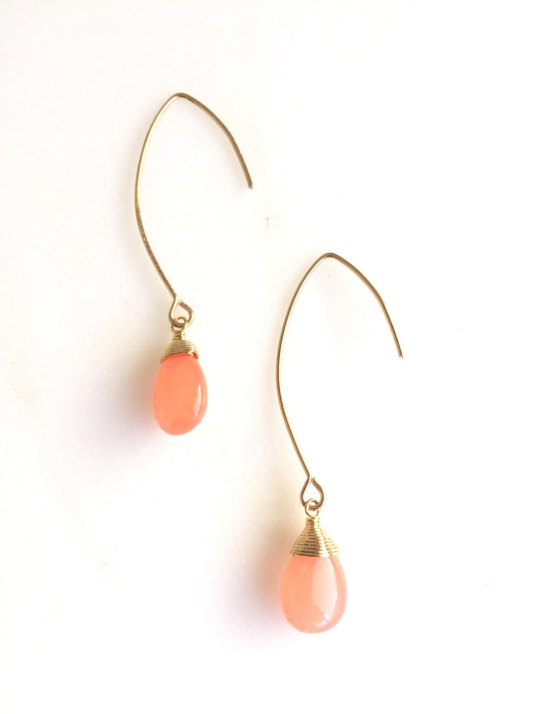 Simple Peach Drop Earrings. Dangle Earrings. Long Drop