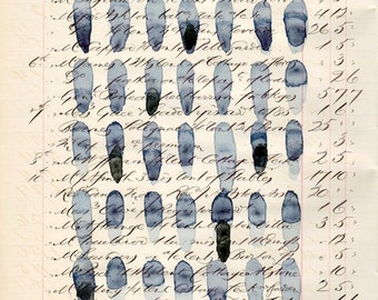 Page 161: original abstract watercolor on antique ledger page shades of indigo minimalist pattern modern art