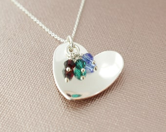 Sterling Silver Swarovski Birthstone Crystal Grandma or Mom's Necklace- Sterling Silver Grandchildren Necklace, Grandma Mom Mother Jewelry