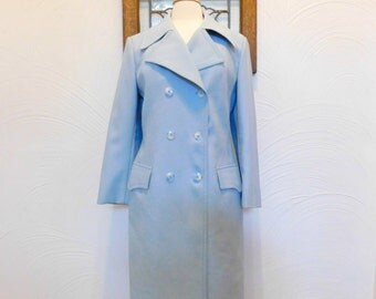 Blue Trench Coat Vintage London Fog Raincoat - L / XL