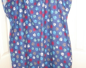 Colorful paw prints flannel hospital gown