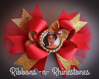 Princess Elena of Avalor Bow, Princess Elena Boutique Hair Bow, Princess Elena Bow, Elena Birthday, Elena Bow, Elena costume, Hair Bows