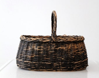 vintage gathering basket, black handle basket, harvest basket