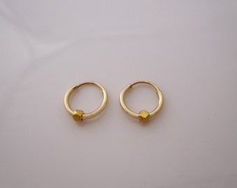 Pair of tiny 10mm yellow gold filled sleepers hoops with faceted beads charms, kids, girls earrings