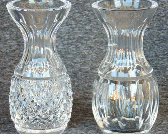 2 Gorgeous Fostoria Cut Crystal Bud Vases MINT