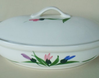 Covered Casserole Baking Dish CLAY DESIGN Hand Painted Pink Purple & Blue Flowers