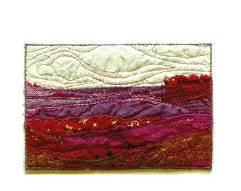Purple landscape fabric postcard