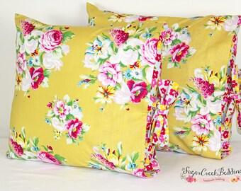"Lindsay  16"" Accent Tie Pillow...Girls Custom Bedding at Sugar Creek Bedding"