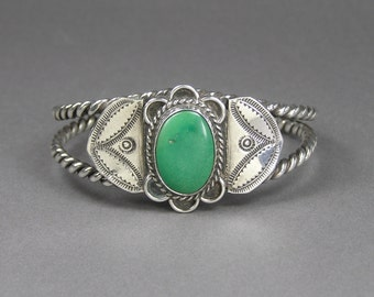 Native American Cuff, Stamped Sterling, Green Turquoise Cabochon, Vintage Ethnic Jewelry, Southwest, Boho
