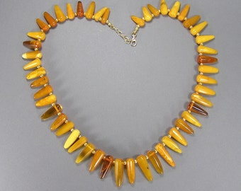 Baltic Amber Necklace, Egg Yolk Amber, Vintage Amber Jewelry, Marbled