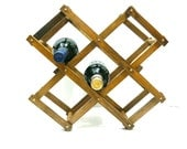 Accordion Wood Wine Rack - Vintage Expandable Foldable - Repurpose as Towel Rack Magazine Stand Storage Organizer