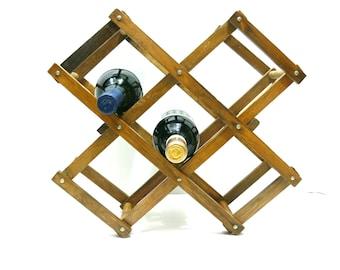 Accordion Wood Wine Rack - Vintage Expandable Foldable - Repurpose as Towel Rack Magazine Stand Storage Organizer