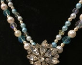 Handcrafted Vintage Beaded Statement Necklace featuring A Vintage Weiss Centerpiece