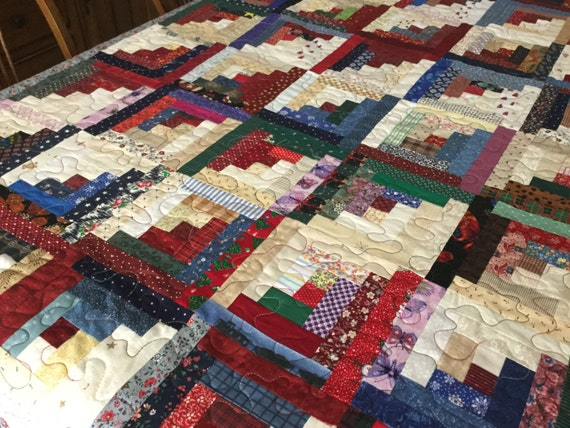 Items Similar To Scrappy Log Cabin Quilt On Etsy