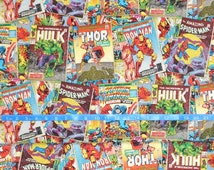 Springs Creative Marvel Vintage Comic Covers - 100% cotton woven fabric - Choose your cut