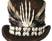 Witch Doctor Voodoo Tall Brown Top Hat Gothic Skull Bones Steampunk Gypsy Victorian