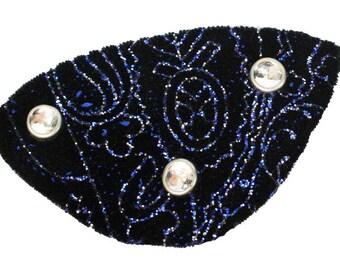 Velvet Eye Patch Midnight Jewel Black Blue Gothic Steampunk Pirate Fantasy Fashion
