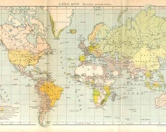 1894 Original Antique World Map in Mercator Projection