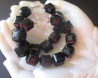 Chunky Black Crystal Stretch Bracelets Rhinestone Accents
