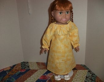 18 inch doll clothes, Yellow  Peasant Dress, Ready to Ship