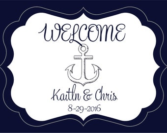 Nautical Wedding Wedding Stickers - Die Cut Labels - Favor Stickers - Envelope Seals Custom Designed