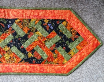 Falling leaves quilted harvest table runner - ready to ship