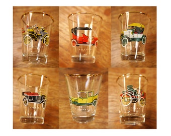 English Vintage Motor Car Shot Glasses 1950s Vintage Shot Glasses