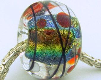 BHB Focal Handmade Lampwork Rainbow Dichro Bead (1)-  LEteam