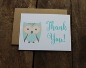 Baby Shower Thank You Cards // Baby Animal // Owl Themed Shower // Blue // Boy Thank you Note Set