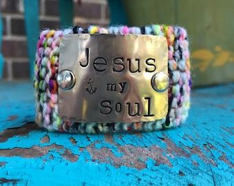 Inspirational Custom Hand Stamped Silver Cuff Bracelet, Christian Bracelet, Scripture Jewelry, Bobo Knit Bracelet
