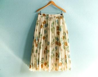 Vintage Pleated Skirt Floral Cream Off White Pastel High Waist Lined Midi / medium