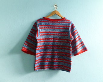 Vintage sweater top jumper / red blue / stripes striped / abstract / knit knitwear / 3/4 sleeve bell / 70s 80s / small medium