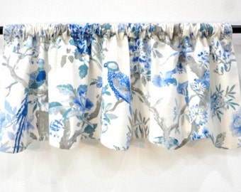 Custom Valance Blue White Linen Fabric Birds Floral Lined Rod Pocket Gathered Valance / READY TO SHIP