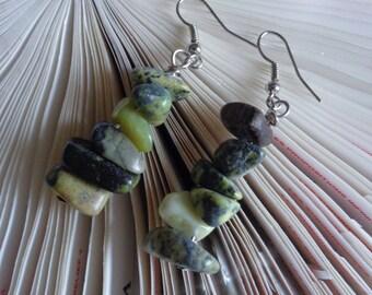 Eco Friendly Moss Green Earrings - Tiny Rock Stacked Stones Earrings - Earthy Green Earrings - Healing Stone Long Earrings - by lanesamarie