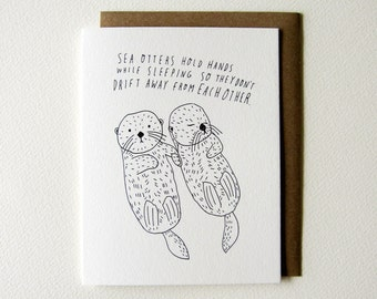Sea Otter Greeting Card, Wedding Gift Idea, Anniversary Gift for Her, Cute Wedding Card, Baby Shower Gift, Folded Notecard, A2, 4.25x5.5