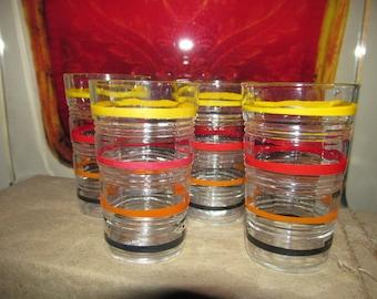Antique Art Deco 1930s Enamel Painted Drinking Glasses Set of 4 Great Colors Excellent Condition