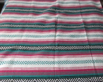 "Vintage Mexican Blanket Aztec Chevron Pattern Pink Black Teal Good Quality Blanket or Rug 54"" x 76"" Great for Rustic or Modernism Decor"
