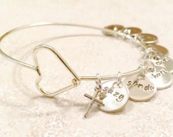 Mom Bracelet, Personalized Bangle Bracelet, Custom Bangle, Personalized Family Bangle, Hand Stamped Custom Bangle