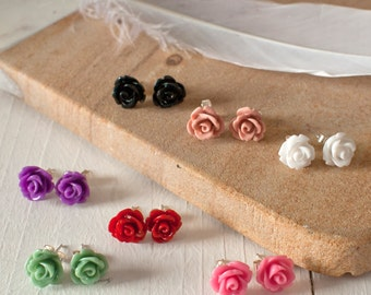 Rose Studs, Rose Earrings, Flower Earrings, Flower Stud Earrings, Sterling Silver Rose Earrings, Floral Earrings, Red Rose Earrings