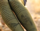 Tights -The Secret Garden -dark olive green -Text Print - Printed Tights -Literature - Book printed tights - text print -unique sketches
