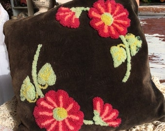 Pretty Sure I Would Turn This Old Hooked Floral Pillow Into A Handbag