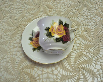 """Queen Anne Bone China Cup and Saucer """"Red and Yellow Rose Decor"""""""