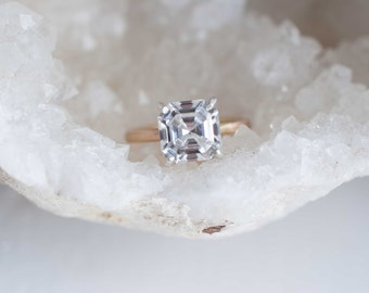Asscher Cut Moissanite Solitaire Engagement Ring   14k Recycled Gold   2.8 ctw Forever One Moissanite Engagement