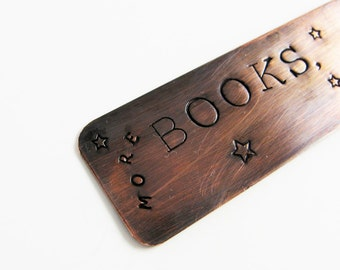 More Books, Less Sleep Bookmark - Rustic Metal with Moon and Stars