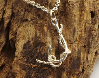Fishing Hook Necklace with Worm - Sterling Silver Fishhook Pendant Necklace - Fish Hook Charm - Fishing Gift for Sailor, gift for fisherman